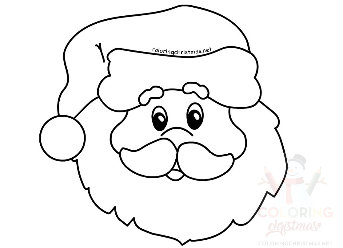 Santa Claus Simple Portrait Coloring Page Coloring Christmas
