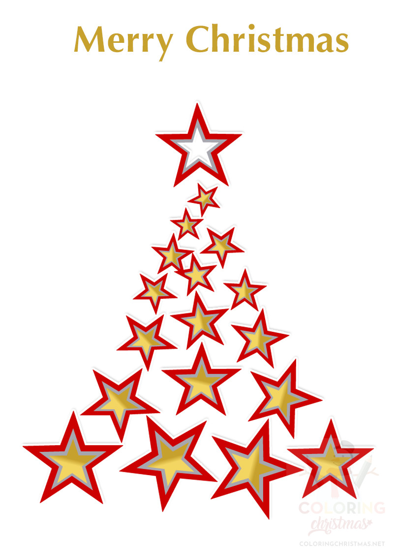 Christmas tree with red and gold stars