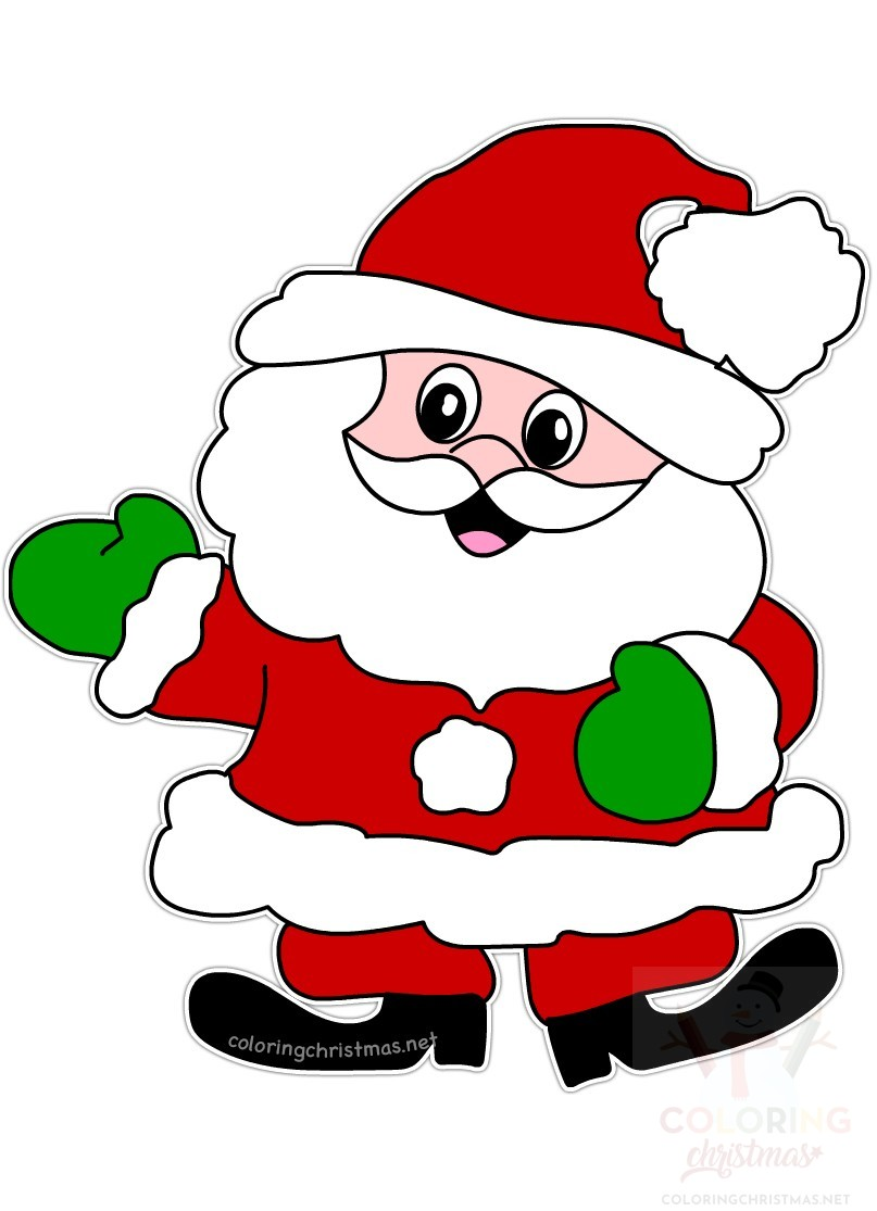 graphic relating to Santa Claus Printable Pictures called Pleased Xmas Santa Claus printable - Coloring Xmas