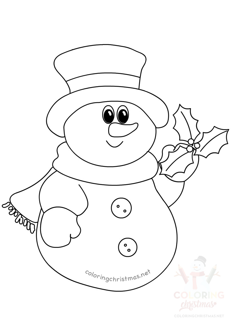 Christmas snowman holly coloring page - Coloring Christmas