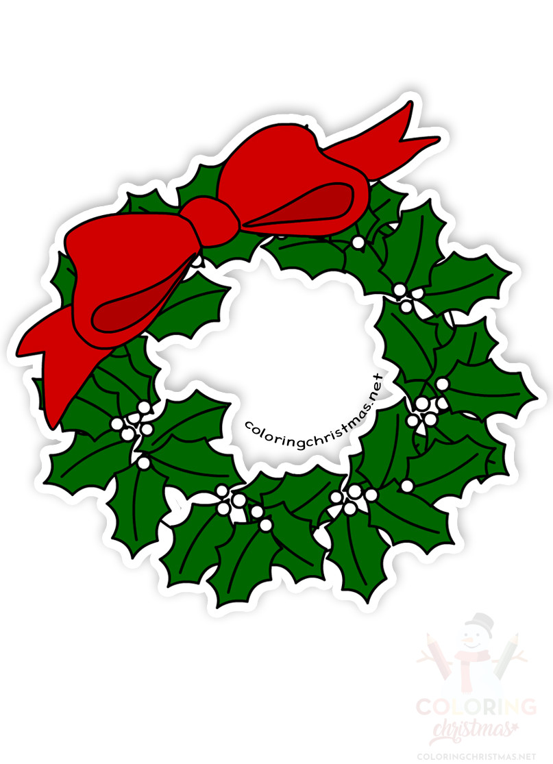 Christmas Wreath With Large Red Bow Clipart Coloring