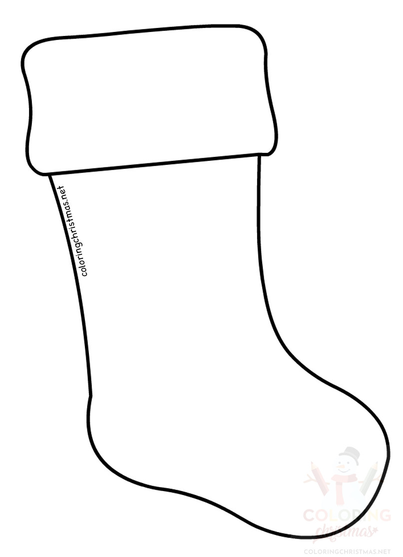 large stocking template  Large Christmas Stocking template - Coloring Christmas