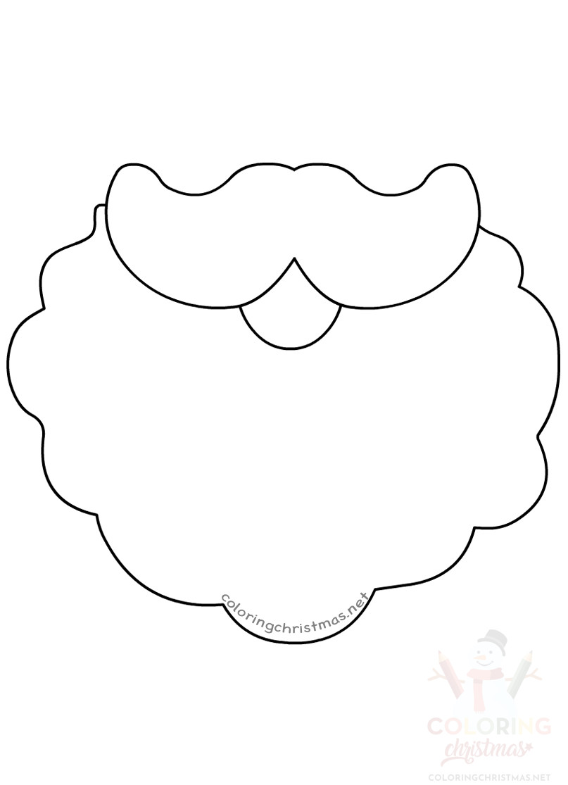 image about Printable Pictures of Santa Claus titled Santa Claus beard template printable - Coloring Xmas