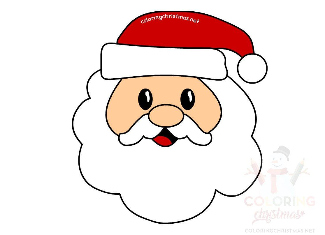 Santa Claus Head Character Design Vector Coloring Christmas
