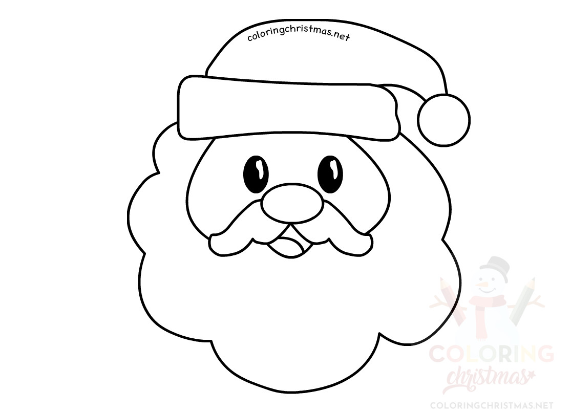 Santa Claus Head Character Printable Coloring Christmas