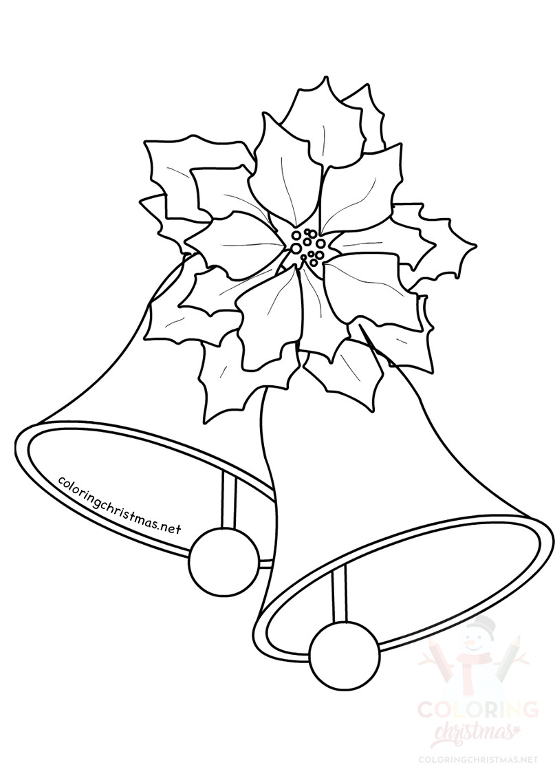 Christmas Bell With Flower Poinsettia Decoration