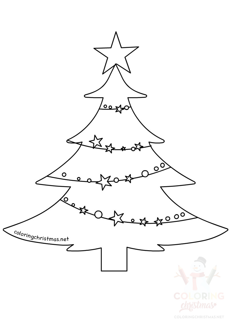 Christmas Tree With Stars And Christmas Baubles Coloring
