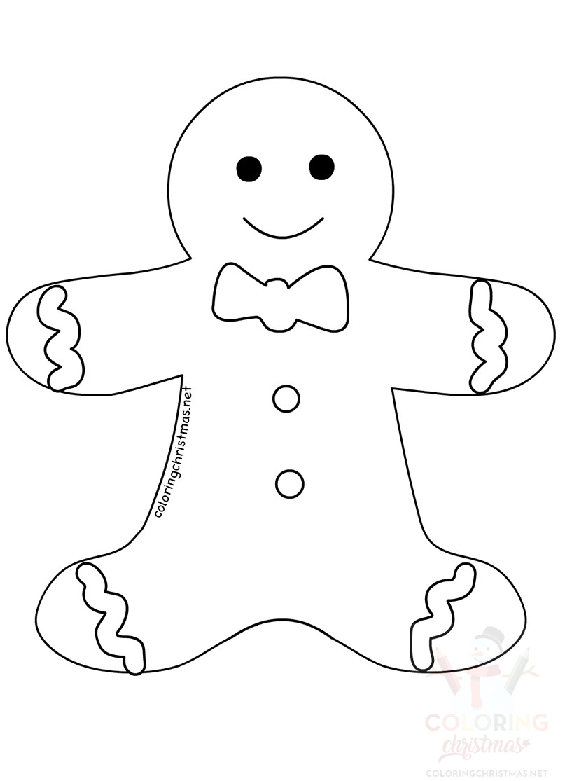 Large Christmas Gingerbread Man Template Coloring Christmas