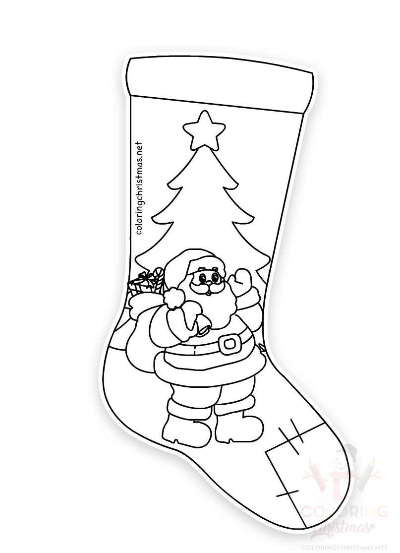 decorated christmas stockings coloring pages - photo#9